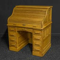 Small Oak Roll Top Desk (3 of 12)