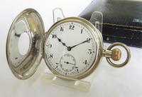 Antique Silver Tavannes Half Hunter Pocket Watch (2 of 5)