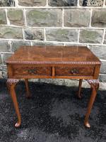 Antique Burr Walnut 2 Draw Side Table