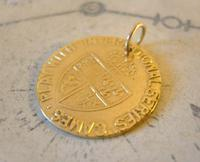Antique Pocket Watch Chain Fob 1890 Victorian Faux Guinea Gambling Coin Fob (6 of 6)