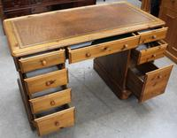 1960s Country Pine Pedestal Desk with Brown Leather on Top (2 of 4)