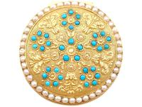12ct Yellow Gold, Pearl & Turquoise Pill Box - Antique c.1815 (3 of 9)
