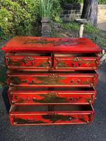 Antique Lacquered Chinoiserie Chest of Drawers (8 of 11)