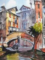 Set of 4 Watercolours Venice by Sirrol listed artist Aka Antonio Sirolli 1950s (5 of 10)