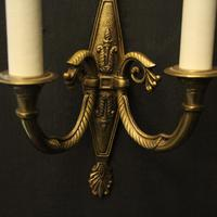 French Pair of Twin Arm Antique Wall Lights (8 of 10)