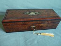 French Inlaid Amboyna Glove / Desk Box c.1870 (3 of 10)