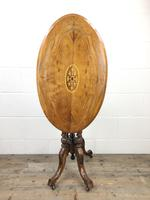 Victorian Walnut Oval Tilt Top Occasional Table (9 of 11)