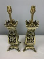 Pair Of Victorian Pierced Brass Table Lamps; Rewired And Pat Tested (7 of 10)