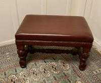 Large Victorian Oak & Leather Library Stool (2 of 6)