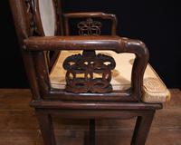 Pair Antique Chinese Armchairs Hardwood 19th Century Seat Chair (7 of 13)
