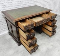 Small Carved Oak Green Man Desk (10 of 10)