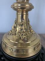 Victorian Brass Table Lamp on Black Wooden Base, Rewired & PAT Tested (3 of 9)