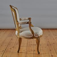 Pair Of French Louis XV Style Painted And Gilt Armchairs (2 of 8)