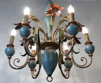 Large Vintage French 6 Arm Polychrome Toleware Ceiling Light Chandelier (14 of 16)