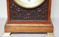 Edwardian Oak Arch Top Mantel Clock (5 of 12)