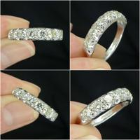 Vintage 18ct White Gold Seven Stone Diamond Half Eternity Wedding Band 0.85ct (5 of 9)