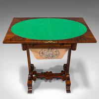 Antique Fold Over Games Table, English, Rosewood, Chess, Cards, Regency c.1820 (8 of 12)