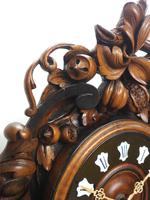 Rare Antique French Carved Dial Wall Clock 8 Day Movement Dial Black Forest Design (7 of 10)