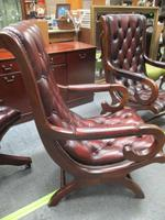 Chesterfield Red Leather Slipper Chair (3 of 4)