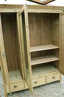 Superb! Old Triple Door 'Knock Down' Pine Combination Wardrobe - We Deliver! (5 of 11)