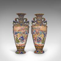 Pair Of Tall Antique Satsuma Vases, Japanese, Ceramic, Decorative, Moriage, 1900 (4 of 12)