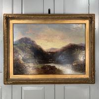 Antique Victorian river landscape oil painting of fishing party 1 of 2 (6 of 10)