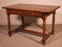 19th Century French Two Drawer Desk with Turned Feet (4 of 12)