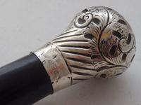 1924  Walking Stick Cane Hallmarked Solid Silver Pommel Ebonised Wood Shaft (5 of 9)