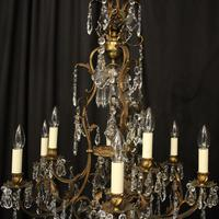 French Gilded Bronze Birdcage Crystal Chandelier (7 of 10)