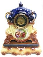 Antique 8-day Porcelain Mantel Clock Classical Blue & Earth Glazed French Mantle Clock (2 of 12)