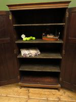 Antique Oak Housekeepers Cabinet Linen Cupboard with Shelves (8 of 17)