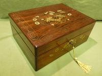 Beautifully Inlaid Rosewood Jewellery Box. Unusual Interior c.1865 (13 of 14)
