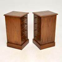 Pair of Antique Victorian Burr Walnut Bedside Chests (8 of 10)