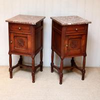 Pair of French Oak Marble Top Bedside Cabinets (3 of 9)