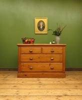 Antique Large Victorian Rustic Pine Sideboard Chest of Drawers