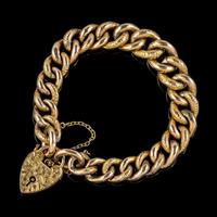Antique Victorian Curb Bracelet 9ct Gold Heart Padlock c.1900