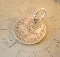 Antique Pocket Watch Chain Fob 1920 Silver Lucky Three Pence Old 3d Coin Fob (5 of 8)