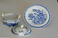 8th Century Dr Wall Worcester Blue Butter Tub, Cover & Stand c.1770 (4 of 8)