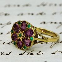 The Vintage Garnet & Emerald Cluster Ring (2 of 3)