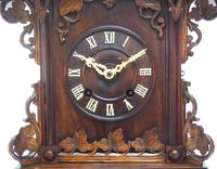 Rare Fusee Cuckoo Mantel Clock – German Black Forest Carved Bracket Clock (5 of 10)