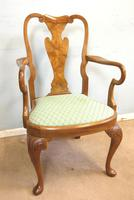 Set of Eight Queen Anne Style Walnut Dining Chairs (11 of 15)
