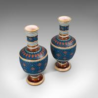 Pair of Antique Decorative Vases, German, Ceramic, Villeroy & Boch, Victorian (5 of 12)