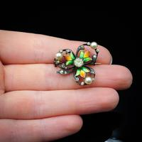 Antique Pearl Paste and Enamel Clover Sterling Silver Brooch Pin (8 of 8)