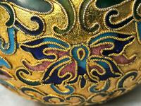 Pair Early 20th Century 1920's Chinese Gilt Champleve Cloissonne Vases (9 of 12)