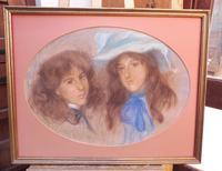 Large Pastel Portrait Two Girls Monogrammed TC 1910 (10 of 10)