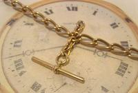 Antique Pocket Watch Chain 1890s Victorian Large Brass Albert With T Bar T*H (8 of 12)