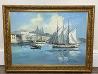 Dutch Oil Painting Fishing Harbour Channel Coast Signed Bernhard Laarhoven (2 of 34)