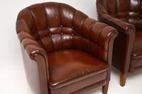 Pair of Antique Swedish Leather Armchairs (9 of 10)