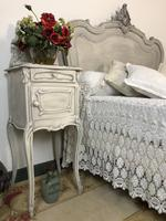 Antique French Double Bed Frame & Pot Cupboard Painted in Weathered Grey (10 of 12)