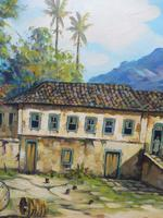 Large oil on canvas tropical sunshine view Brazilian artist Chediac (7 of 10)